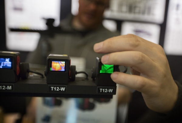 The Thermal Imager T12 heat sensor is seen in the Torrey Pines Logic booth during the Shot Show at the Las Vegas Sands Convention Center on Tuesday, Jan. 19, 2016. Jeff Scheid/Las Vegas Review-Jou ...