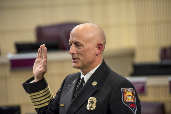 Matthew Morris is sworn in as the Henderson Fire Chief at Henderson City Hall in Henderson on Tuesday, Jan. 19, 2016. Joshua Dahl/Las Vegas Review-Journal