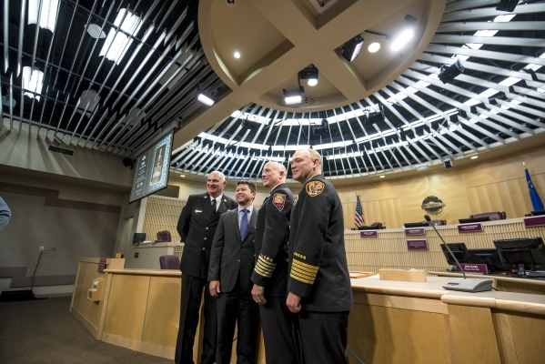 North Las Vegas Fire Chief Jeff Lytle, from left, retired Henderson Fire Chief Steve Goble, Henderson Fire Chief Matthew Morris, and Clark County Fire Chief Greg Cassell, pose for a photo at Hende ...