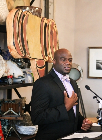 Nevada Sen. Kelvin Atkinson, D-Las Vegas, speaks during a news conference calling for the arrest of the Bundys and their fellow anti-government protestors at Inside Style in downtown Las Vegas on  ...