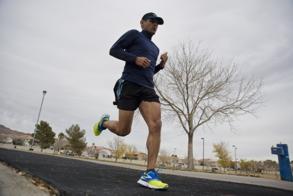 Juan Berrelleza trains for an upcoming half marathon at Lewis Family Park near Las Vegas High School in Las Vegas on Monday, Jan. 19, 2016. Daniel Clark/Las vegas Review-Journal Follow @DanJClarkPhoto