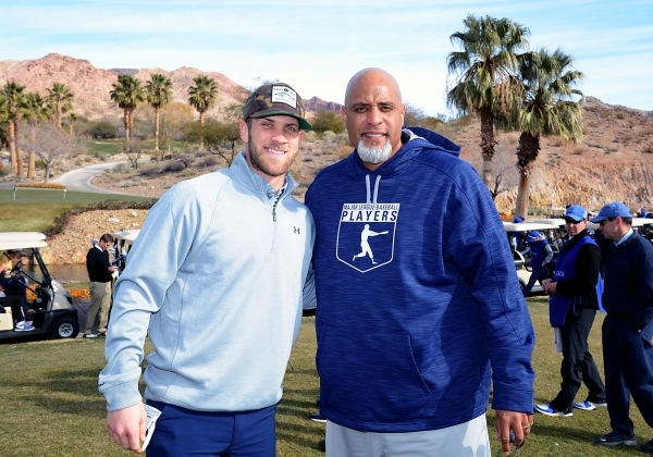 Reigning National League MVP and Las Vegas resident Bryce Harper poses with Major League Baseball Players Association Executive Director Tony Clark at Cascata for Players Trust Golf Tournament. Co ...