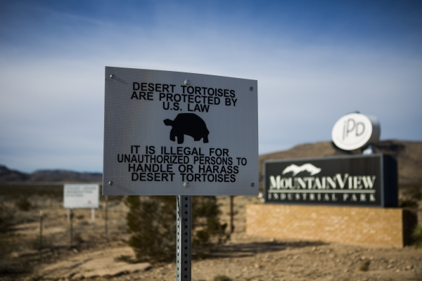 Signs are seen Thursday, Jan. 21, 2016, at U.S. Highway 93 and Grand Valley Parkway at Apex near the proposed site of Faraday Future. Jeff Scheid/Las Vegas Review-Journal Follow @jlscheid