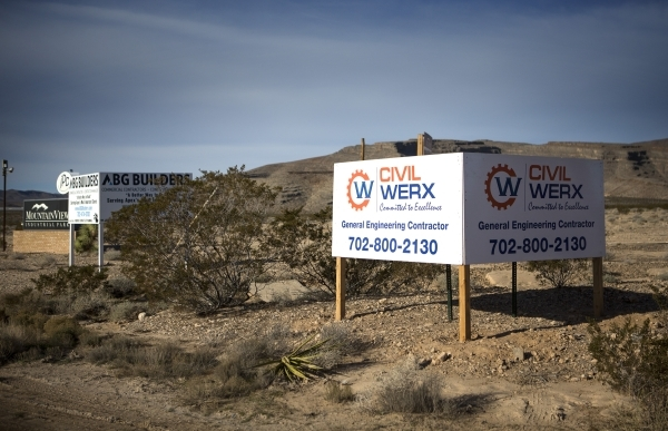 Signs are seen Thursday, Jan. 21, 2016 at U.S. Highway 93 and Grand Valley Parkway at Apex near were the proposed future site of Faraday Future. Jeff Scheid/Las Vegas Review-Journal Follow @jlscheid