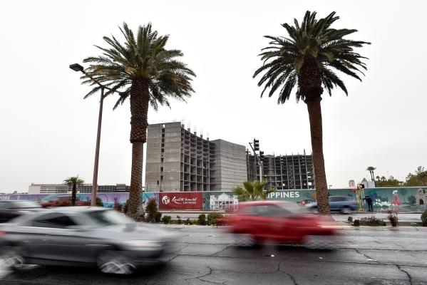 Vehicle traffic passes the Resorts World construction site along Las Vegas Boulevard near Riviera Boulevard Tuesday, Jan. 19, 2016, in Las Vegas. David Becker/Las Vegas Review-Journal