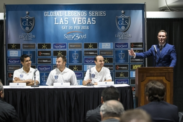 James Davies Yandle, right, CEO and co-funder for the Global Legends Series, speaks during a press conference on Thursday, Jan. 21, 2016, in Las Vegas. Erik Verduzco/Las Vegas Review-Journal Follo ...