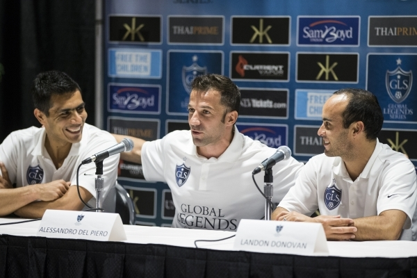 Former professional soccer players from left, Oswaldo Sanchez, Alessandro Del Piero, and Landon Donovan, Thursday, participate during a Global Legends Series press conference on Jan. 21, 2016, in  ...