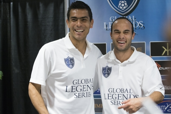 Former professional soccer players Oswaldo Sanchez, left, and Landon Donovan pose for a photo during a Global Legends Series press conference on Jan. 21, 2016, in Las Vegas. Erik Verduzco/Las Vega ...