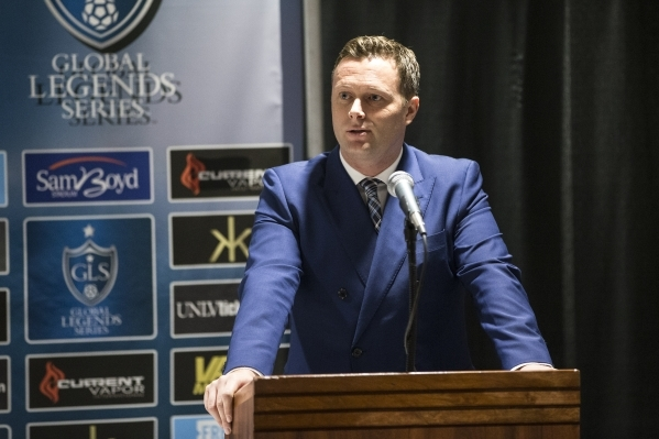 James Davies Yandle, CEO and co-funder for the Global Legends Series, speaks during a press conference on Thursday, Jan. 21, 2016, in Las Vegas. Erik Verduzco/Las Vegas Review-Journal Follow @Erik ...
