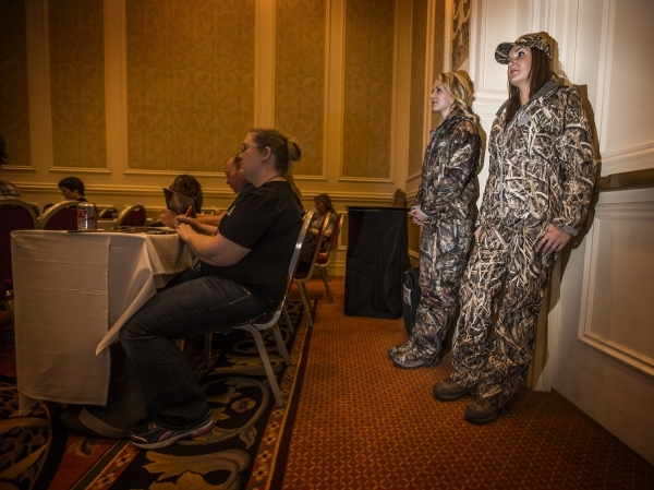 Callie Wolverton, right, and Anushka Kapp model clothing at the Girls With Guns press conference during the Shot Show at the Sands Expo on Wednesday, Jan. 20, 2016. Jeff Scheid/Las Vegas Review-Jo ...