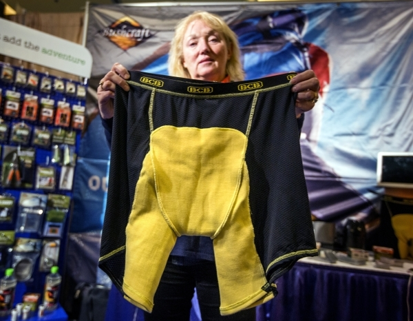 Janey Howell with BCB International holds a pair of Blast Boxer briefs during the Shot Show at the Sands Expo on Wednesday, Jan. 20, 2016. The underwear protects against most fragments during blas ...