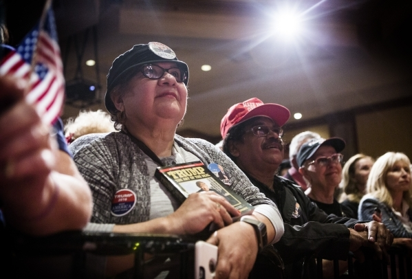 Supporters listen while Donald Trump speaks during a rally  at the South Point, 9777 South Las Vegas Boulevard, on Thursday, Jan. 21, 2016. Jeff Scheid/Las Vegas Review-Journal Follow @jlscheid