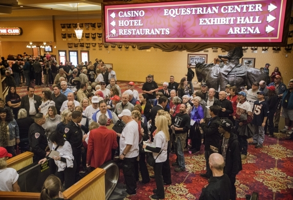 Supporters line up to take the escalator up to the second floor for  to hear Donald Trump speak  at the  South Point, 9777 South Las Vegas Boulevard, on Thursday, Jan. 21, 2016. Jeff Scheid/Las Ve ...