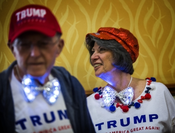 Supporters Charles Wax, left, and his wife Sharon stand  in line to hear Donald Trump speak  at the  South Point, 9777 South Las Vegas Boulevard, on Thursday, Jan. 21, 2016. Jeff Scheid/Las Vegas  ...