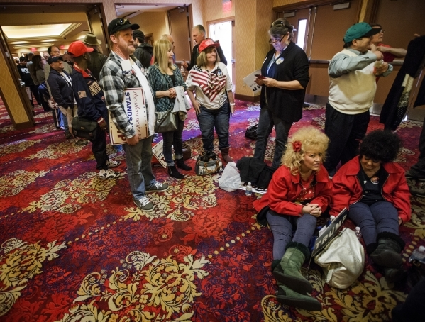 Supporters Linda Livingston, right, and her daughter Paige sit in line to hear Donald Trump speak  at the  South Point, 9777 South Las Vegas Boulevard, on Thursday, Jan. 21, 2016. Jeff Scheid/Las  ...