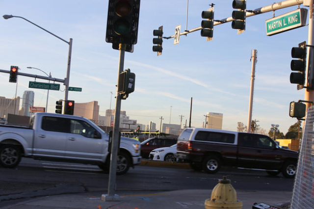 Cars cross thourgh the intersection of Martin Luther King and Charleston boulevards in Las Vegas on Thursday, Jan. 21, 2016. Brett Le Blanc/Las Vegas Review-Journal Follow @bleblancphoto