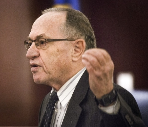 Renowned Harvard University law professor Alan Dershowitz, representing Las Vegas Sands, appears in front of the Nevada Supreme Court at the Regional Justice Center on Tuesday, Jan. 26, 2016. This ...