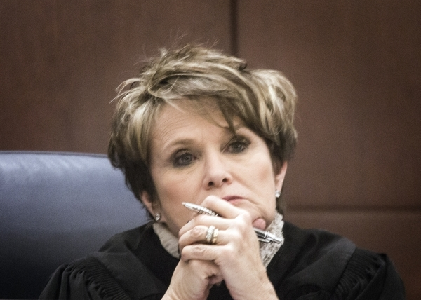 Justice Nancy Saitta listens while Todd Bice, representing Richard Suen, appears in front of the Nevada Supreme Court at the Regional Justice Center on Tuesday, Jan. 26, 2016. This is the second t ...