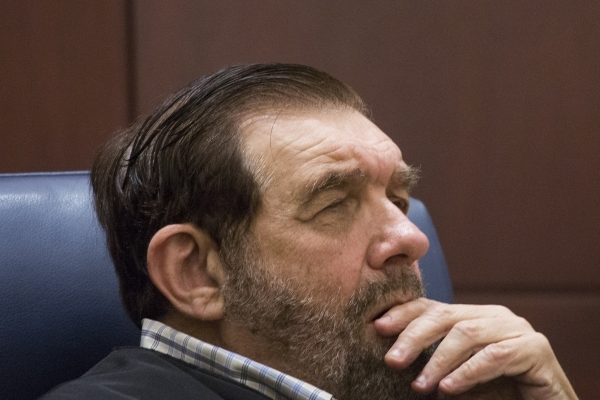 Justice Michael Cherry listens while Todd Bice, representing Richard Suen, appears in front of the Nevada Supreme Court at Regional Justice Center on Tuesday, Jan. 26, 2016. This is the second tim ...