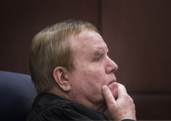 Justice Mark Gibbons listens while Todd Bice, representing Richard Suen, appears  in front of the Nevada Supreme Court at the Regional Justice Center on Tuesday, Jan. 26, 2016. This is the second  ...