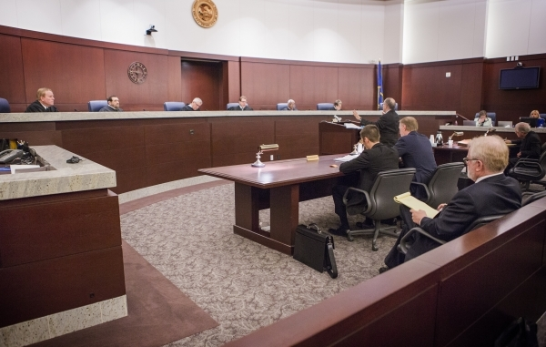 Nevada Supreme Court justices listen while Harvard University law professor Alan Dershowitz, representing Las Vegas Sands, speaks at Regional Justice Center on Tuesday, Jan. 26, 2016. This is the  ...