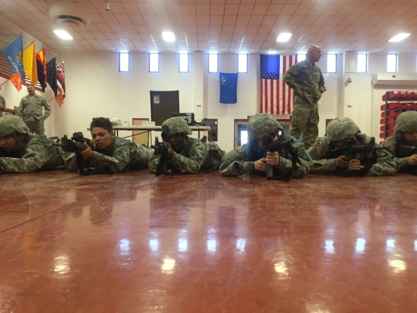 Nevada Army National Guard soldiers from the 422nd Expeditionary Signal Battalion aim their weapons, Thursday, Jan. 21, 2016, during mobilization training at the Clark County Armory. Keith Rogers/ ...
