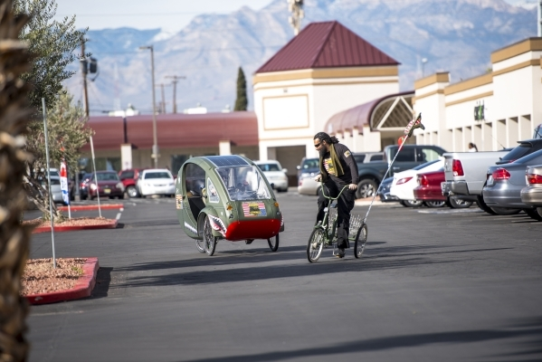 Air Force veteran Peter Guidry rides a trike during a suicide awareness event outside the VA Community Resources and Referral Center in Las Vegas on Friday, Jan. 22, 2016. Joshua Dahl/Las Vegas Re ...