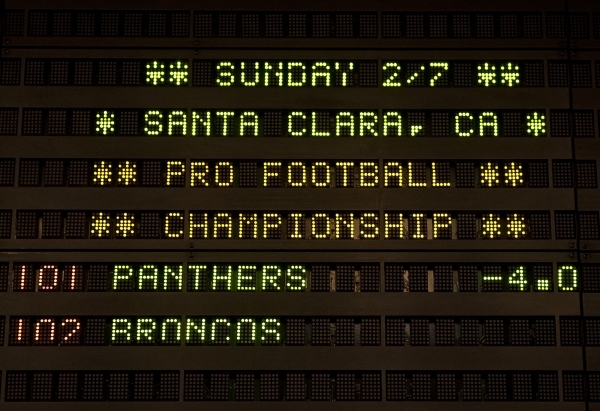 The opening line of Super Bowl 50 is set at the Golden Nugget hotel-casino sports book in Downtown Las Vegas on Sunday Jan 24, 2015. The Carolina Panthers are a -4 favorite to win the Super Bowl o ...