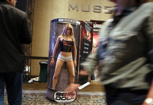 A Jessica Drake Wicked RealDoll is displayed in the hallway at the AVN Adult Entertainment Expo 2016 at Hard Rock hotel-casino Friday, Jan. 22, 2016, in Las Vegas. The four-day expo featured adult ...