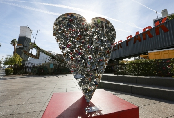 Locks hang on one side of the Love Locket sculpture in downtown Las Vegas on Friday, Jan. 22, 2016. According to Downtown Project spokeswoman Maria Phelan, security  footage shows a couple of peop ...