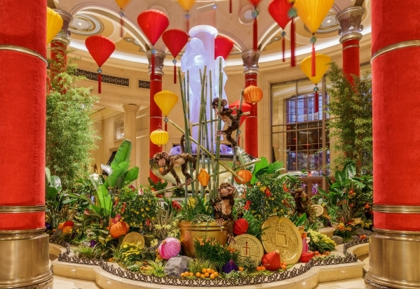 Red and gold lanterns hover over Chinese New Year displays featuring thousands of plants and blooming flowers at The Venetian and Palazzo through February. COURTESY ALLIED INTEGRATED MARKETING