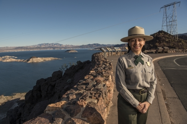 Lizette Richardson, a superintendent with the National Park Service overseeing the Lake Mead National Recreation Area, poses for a photo at the Lakeview Overlook near the Hoover Dam in Boulder Cit ...