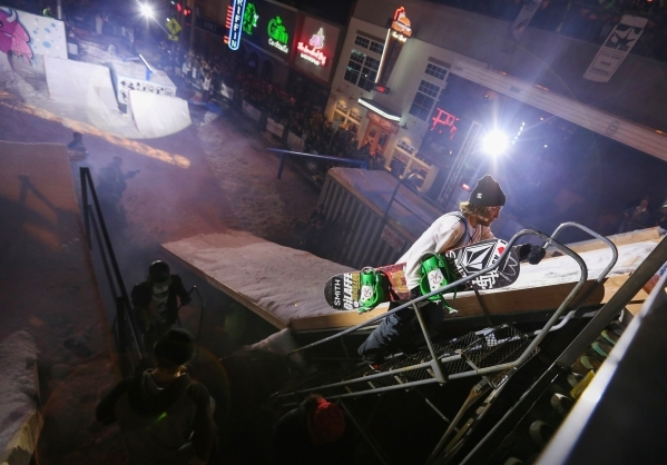A snowboarder climbs to the top of the ramp during the 2016 Park Jam snowboarding competition on Fremont Street in Las Vegas on Saturday, Jan. 23, 2016. Brett Le Blanc/Las Vegas Review-Journal Fol ...