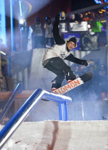 A contestant performs a grind during the 2016 Park Jam snowboarding competition on Fremont Street in Las Vegas on Saturday, Jan. 23, 2016. Brett Le Blanc/Las Vegas Review-Journal Follow @bleblancphoto