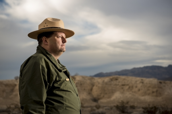 Jon Burpee, newly appointed superintendent of Tule Springs Fossil Beds National Monument, poses for a photo in the fossil beds in Las Vegas on Friday, Jan. 29, 2016. Joshua Dahl/Las Vegas Review-J ...