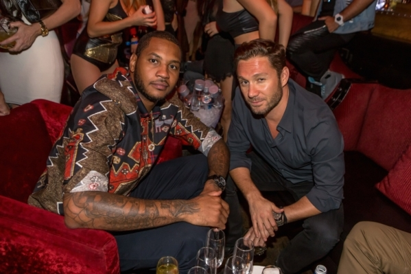 NBA great Carmelo Anthony, left, and Tao Group managing partner Jason Strauss in September at Lavo Italian restaurant in the Palazzo. (Courtesy)