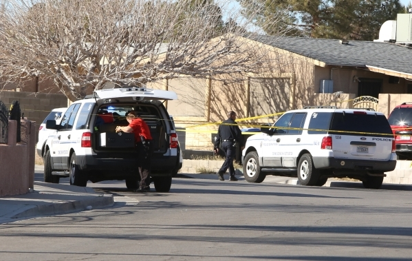 North Las Vegas police are investigating a homicide at a house in the 1200 block of Ferguson Avenue, near the intersection of Evans Avenue and Civic Center Drive on Monday, Jan. 25, 2016.   Police ...