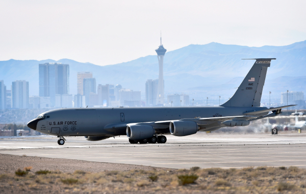 A KC-135 Stratotanker taxis on the tarmac before taking off for a Red Flag exercise at Nellis Air Force Base on Monday, Jan. 25, 2016, in Las Vegas. More than 80 warplanes from squadrons in the Un ...