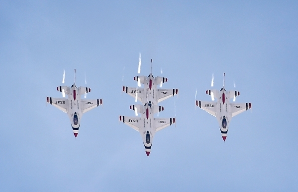 The USAF Thunderbirds fly their F-16 jets overhead at Nellis Air Force Base on Monday, Jan. 25, 2016, in Las Vegas. David Becker/Las Vegas Review-Journal