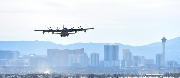 An Air Force C-130 cargo plane takes off during a Red Flag exercise at Nellis Air Force Base on Monday, Jan. 25, 2016, in Las Vegas. More than 80 warplanes from squadrons in the United States, Uni ...