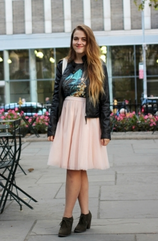 Ankle boots with tulle skirt. Photo Courtesy.
