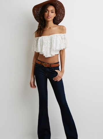 Lace off-the-shoulder lace blouse. Photo Courtesy. (Find it similar at Forever 21)