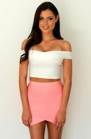 Off-the-shoulder, crop-top. Photo Courtesy. (Find it similar at Neiman Marcus or Bebe stores).