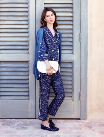 Two-piece pajama inspired suit and slippers. Photo Courtesy. (Find this one at Louis Vuitton, or similar at Tory Burch, The Forum Shops.)