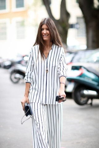 Two-piece stripped pajama inspired attire.  Photo Courtesy. (Find it similar at www.shopbob.com - Rag and Bone)