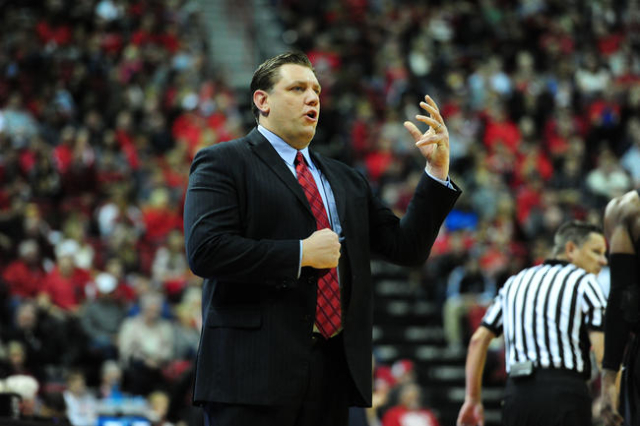 UNLV interim head coach Todd Simon is seen in the second half of their NCAA college basketball game against San Diego State at the Thomas & Mack Center in Las Vegas Saturday, Jan. 30, 2016. (J ...
