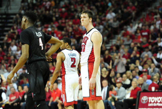 UNLV forward Stephen Zimmerman Jr. (33) reacts to a foul called against UNLV in the second half of their NCAA college basketball game against San Diego Sate at the Thomas & Mack Center in Las  ...