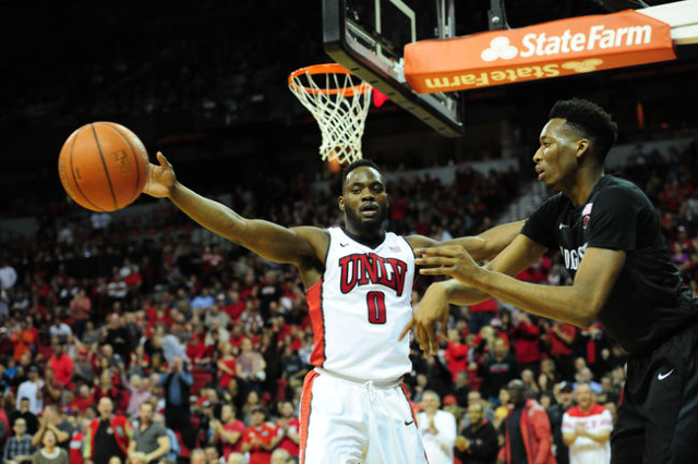 San Diego State guard Dakarai Allen (4) makes an inbound pass in front of UNLV guard Ike Nwamu (0)  in the second half of their NCAA college basketball game against San Diego Sate at the Thomas &a ...