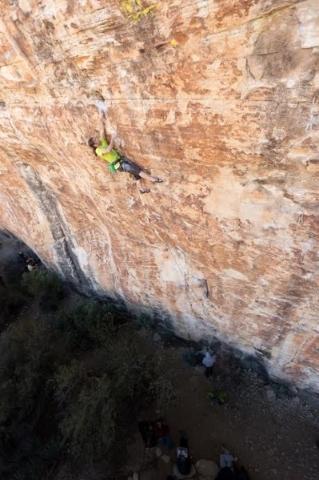 Local rock climber David Allfrey plies his skills during a recent big wall climb. SAM CROSSLEY/COURTESY PHOTO