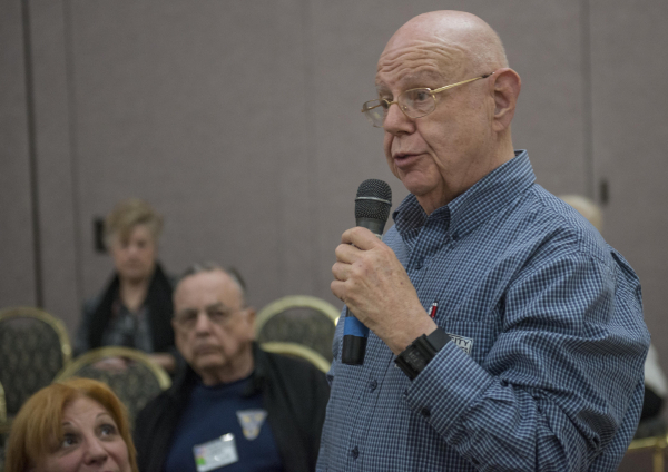 Sun City Summerlin resident Howard Vern asks a question of Clark County GOP chairman Ed Williams as he held a caucus training session for the Sun City Summerlin Conservatives Club at the Sun City  ...